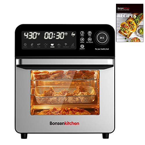Bonsenkitchen Air Fryer Oven, 15.3QT Large Capacity Stainless Steel Airfryer Rotisserie Oven, 3 Layers 8-in-1 with LED Digital Screen and Knob Roaster Oven, Fry, Roast, Dehydrate, Bake, 50 Recipes & 7 Accessories