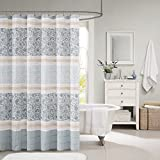 French Country Shower Curtains Madison Park MP70-2493 Dawn Cotton Shower Curtain 72x72 Blue
