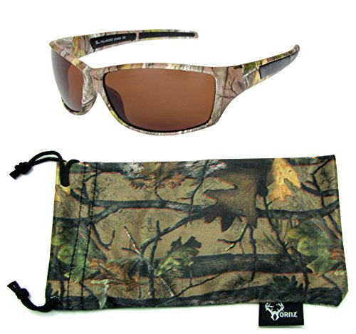 Hornz Brown Forrest Camouflage Polarized Sunglasses for Men Full Frame & Free Matching Microfiber Pouch - Brown Camo Frame - Amber ()
