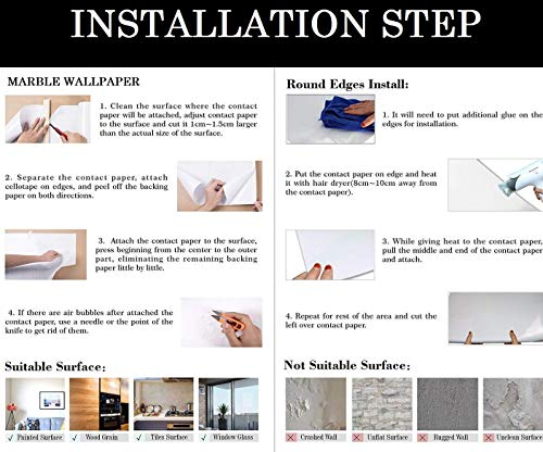 Nasmodo Granite Marble Wallpaper for Furniture Walls, Table top, Kitchen Slab, Floor, Granite Wallpapers for cupboards, Door Sticker (60*300CM, Black)