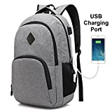 Laptop Backpack with USB Charging Port Lightweight Waterproof Polyester Business School College Bookbag Schoolbag Travel Hiking Camping Outdoor Bag Daypack Rucksack Fits 15-Inch Notebook (Space Gray)