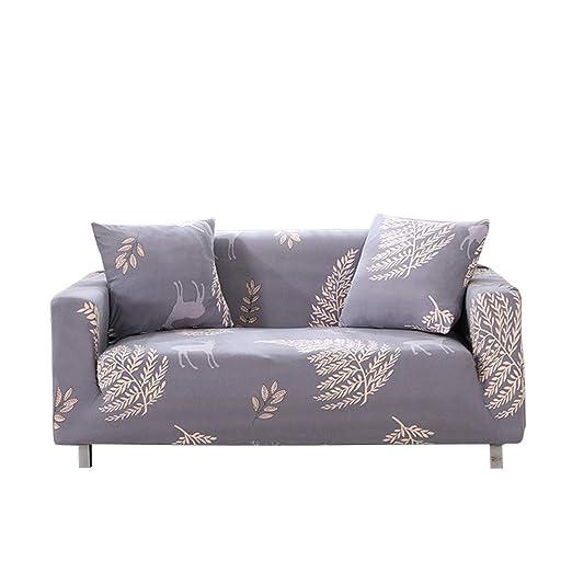 Funda para sofá elástica, antideslizante, estampado de plumas y flores moderno y simple, de 1/2/3/4 plazas, protector para mascotas ...