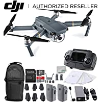 DJI Mavic Pro Collapsible Quadcopter Drone Essentials Backpack Bundle w/ Manufacturers Accessories + Intelligent Flight Battery + Customizable Bag + 32 GB UHS-I Card + USB-C Cable + Cleaning Cloth