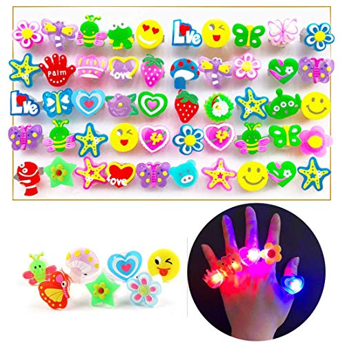 ChangSheng Glow Rings Led Party Supplies,50 Pcs Random Pattern Light Up Rings for Graduation Ceremonies, Birthday Parties and Parties -