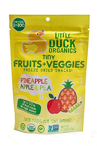 Little Duck Organics Tiny Fruits + Veggie, Pineapple/Apple/Pea, 6 Count