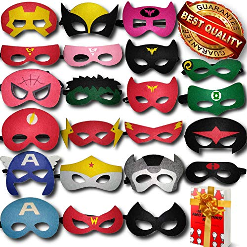 TONSY Superhero Masks for Kids Birthday Party Favors Dress Up and Avengers Party Supplies 22 Packs  ADJUSTABLE and Multiple Sizes for Boys Girls and Adults | eBook Included by Gazelle#039sGoods