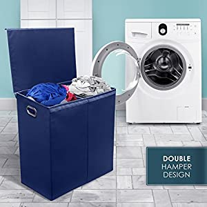 Sorbus Laundry Hamper Sorter with Lid Closure – Foldable Double Hamper, Detachable Lid and Divider, Built-In Handles for Easy Transport - (Navy Blue)