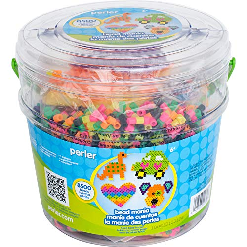Perler Beads Fuse Bead Activity Bucket for Arts and Crafts, 8500 Beads