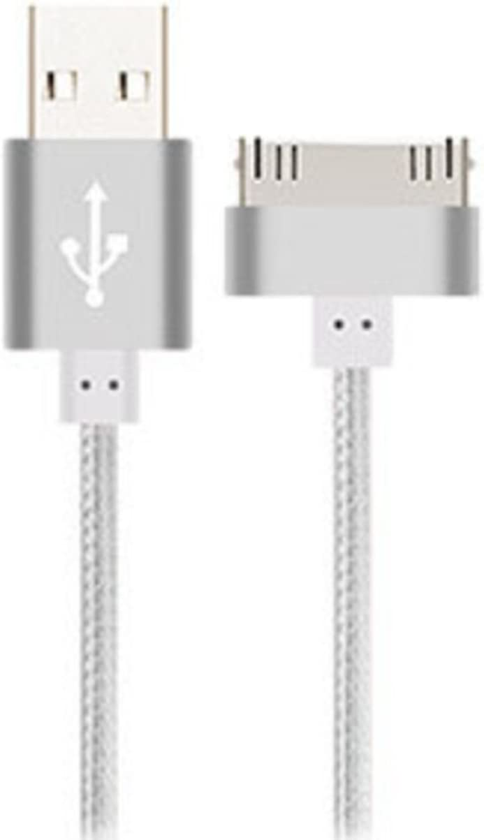 Enligten 2-Pack 3FT 5FT Extra Long 30 Pin to USB SYNC and Charge Cable Cord for Apple iPhone 4/4s, iPod 1-6 Gen, iPod 1-4 Gen, iPad 1-3 Gen (Silver)