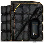 PUFFER WOLF | Extra Large Double Insulated Outdoor Camping Blanket | 2X Puffy, Warm, Packable, Weatherproof, D