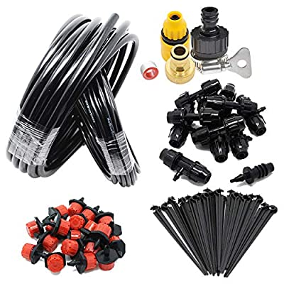 "theBlueStone Upgrade DIY 65FT 20-Emitters Sprinkler Drip Irrigation System Kits - 1/2"" Main Line with 1/4"" Distribution Line - for Garden Greenhouse Backyard Automatic Watering Equipment Accessories"