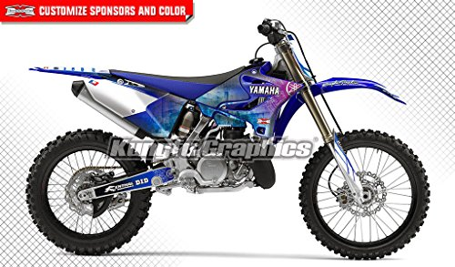 (Kungfu Graphics Custom Decal Kit for Yamaha YZ125 YZ250 2015 2016 2017 2018, White Blue, Style 006)