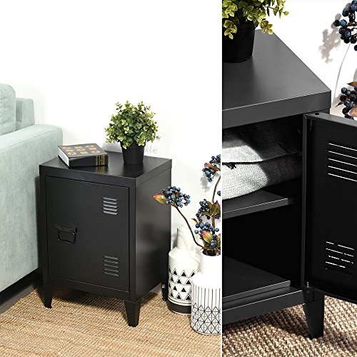 HomyCasa   Metal Locker Side Sofa/Couch End Table   Bedside Night Stand   Accent Safe Home Accessory Display Mini Bookcase with Hidden Shelves Organizer and Storage (Black) by HOMY CASA (Image #3)