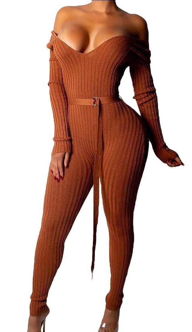 HTOOHTOOH Womens Knit Off Shoulder V Neck Long Sleeve Romper Playsuit