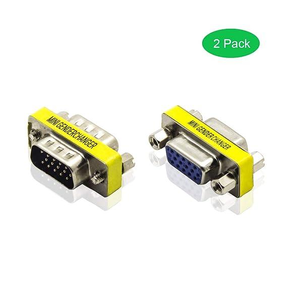 ADWITS HD15 VGA SVGA Buchse auf Buchse, Stecker auf Stecker Mini Gender Changer Koppler Adapter, 15 Pin Konverter für PC Vide
