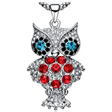 NEEMODA Austrian Crystal Owl Long Necklace with Luxury Gift Box 32 inches +2 inches Triple White Gold Plated Chain