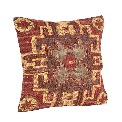 SARO LIFESTYLE 571.M20S 1-Piece Kilim Design Pillow Set, 20-Inch, Multicolor, Square - Square Pillow Wool