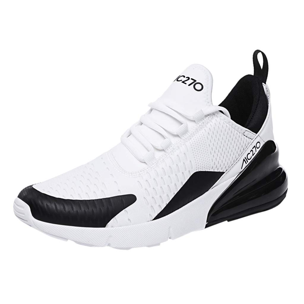 Mens Casual Walking Sneakers Slip On Mesh Lace Up Lightweight Breathable Outdoor Sport Shoes (US:9.5, Black)