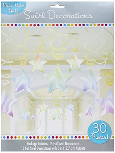 Amscan Lustrous Iridescent Shooting Star Swirl Decorations Mega Value Pack, Multicolor -