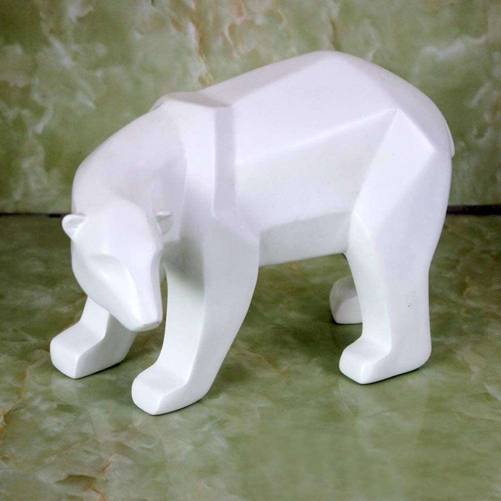 ASNOMY Polyresin Bear Figurine Home Decor, Abstract Sculptures Bear Home Decor, Originality Home Decoration Furnishing Animal Ornament Resin, Geometric Surface Statues Home Decor