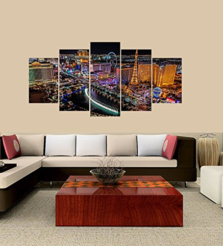 PEACOCK JEWELS Premium Quality Canvas Printed Wall Art Poster 5 Pieces / 5 Pannel Wall Decor the Las Vegas Strip Painting, Home Decor Pictures - With Wooden (Las Vegas Strip Photo)
