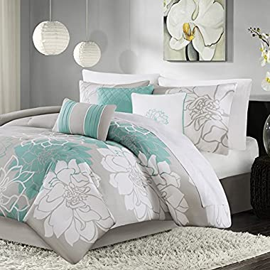 Madison Park Lola King Size Bed Comforter Set Bed in A Bag - Aqua, Grey, Floral, Flowers – 7 Pieces Bedding Sets – Cotton Sateen, Cotton Poly Crossweave Bedroom Comforters