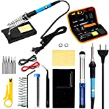 HILDA Soldering Iron Kit, 60W 110V Adjustable Temperature Welding Soldering Iron,16-In-1 Soldering Tips,Soldering Iron Stand, Desoldering Pump, Tweeze