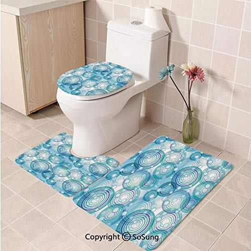 (3pcs/Set Abstract Home Decor Style Soft Comfort Flannel Toilet Mat,Rings and Balls Fashionable Creative Trendy Ornament Decorative Design,Plush Bathroom Decor Mat with Non Slip Backing, )