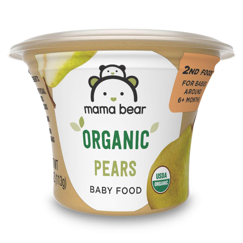 Amazon Brand - Mama Bear Organic Baby Food, Pears, 4 Ounce Tub, Pack of 12