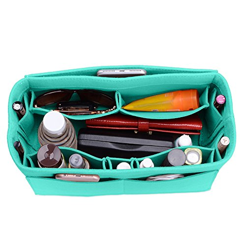 Felt Purse Organizer, Multi Pocket Bag in Bag Organizer For Tote & Handbag Shaper, Speedy 30, Speedy 35 and Speedy 40, Medium, Large, Extra Large (Large, Tiffany (Multi Pocket Tote Handbag)