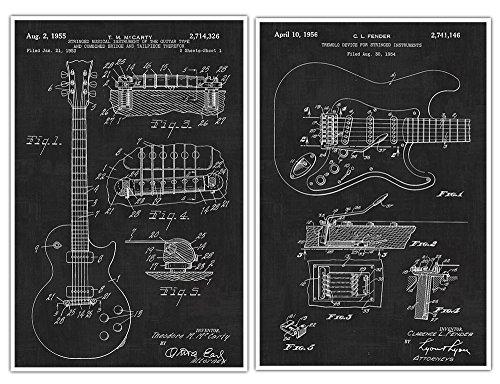 Gibson Les Paul Guitar Poster, Fender Guitar, Guitar Art, Guitar Player Gift, Electric Guitar, Patent Prints, Guitar Poster - set of 2 posters