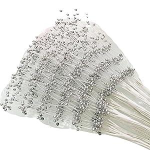 100 Stems Wedding Flower Bouquet Pearl Spray Bead Floristry Tiaras Corsage Decor (4mm, Silver) 91