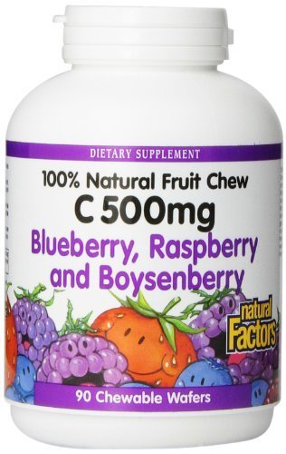 Natural Factors Vitamin C Blueberry, Raspberry, Boysenberry Chewables 500mg Wafers, 90-Count by Natural Factors (Chew Wafers 100)