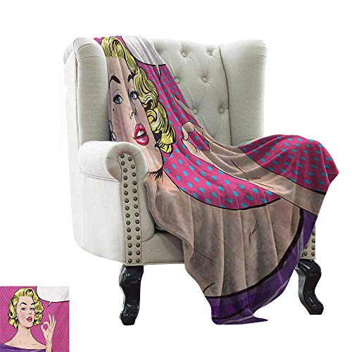 Anyangeight Vintage,Weave Pattern Extra Long Blanket,Pop Art Blonde Woman Making OK Sign on Dotted Background Retro Comic Book Design 60