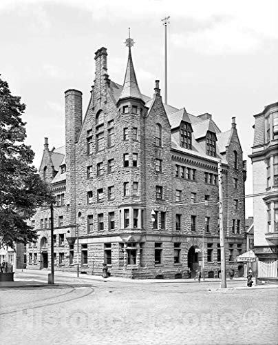Restored Black & White Photo - Historic Providence, Rhode Island - The Y.M.C.A. Building, c1906 | 32in x 44in