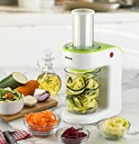 New & Improved Gourmia GS325 Electric Spiralizer and Slicer for Vegetables & Pasta Maker for Spaghetti, Fettuccine & Ribbon Noodles Bonus Cookbook (Lime)