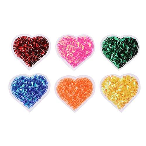 Vosarea Sequined Heart Patch Sewing Fabric Appliques DIY Clothes Accessories for Sweater Dress Shirt 6pcs