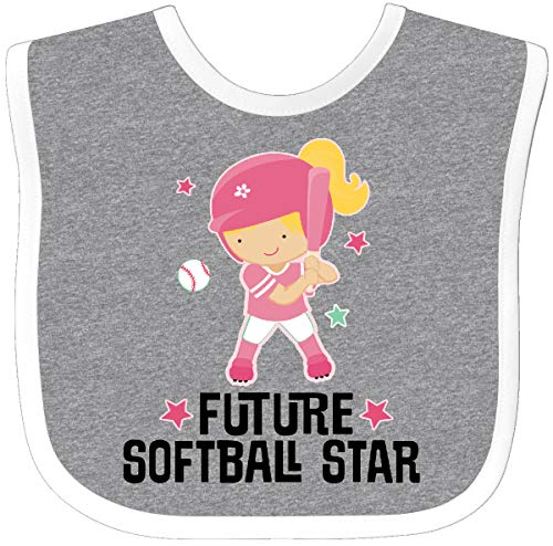 Inktastic - Future Softball Star Girl Baby Bib Heather/White 2ebee