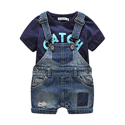 Kimocat Toddler Boy Clothes Set Casual Beach Letter Short Sleeve T-Shirt+Denim Jumper Pants (0-6month(70#))