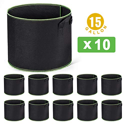 Delxo 10-Pack 15 Gallon Grow Bags Heavy Duty Aeration Fabric Pots Thickened Nonwoven Fabric Pots Plant Grow Bags with Handles