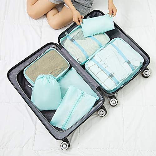 トラべラブ圧縮バッグ 旅行収納袋セット7つの多機能の衣類の分類のパッケージの靴袋が付いている立方体 トラベルポーチ 出張 旅行 便利グッズ (Color : Bright blue, Size : Free size)