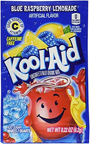 (Kool-Aid Ice Blue Raspberry Lemonade Unsweetened Soft Drink Mix, 0.14-Ounce Envelopes)