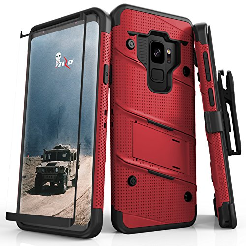 Zizo Bolt Series Samsung Galaxy S9 Case – Full Curved Glass Screen Protector with Holster and 12ft Military Grade Drop Tested