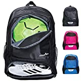 Athletico Youth Soccer Bag - Soccer Backpack & Bags for Basketball, Volleyball & Football | for Kids, Youth, Boys, Girls | Includes Separate Cleat and Ball Compartments
