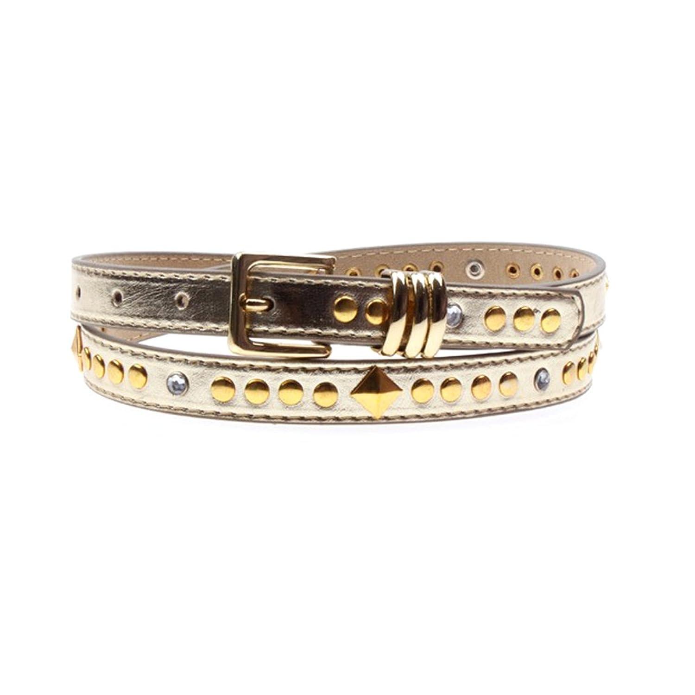 Women's Leather Belts Rhinestone Rivet Gold Tone Thin Waist Belt Pin Buckle