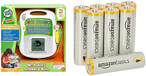 Leapfrog Mr Pencil's Scribble and Write Learning Toy & Amazon Basics AA Performance Alkaline Batteries [Pack of 8] – Packaging May Vary