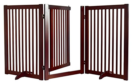 WELLAND Freestanding Wood Pet Gate with Walk Through Door, 66-Inch, Cherry - Cherry Panel
