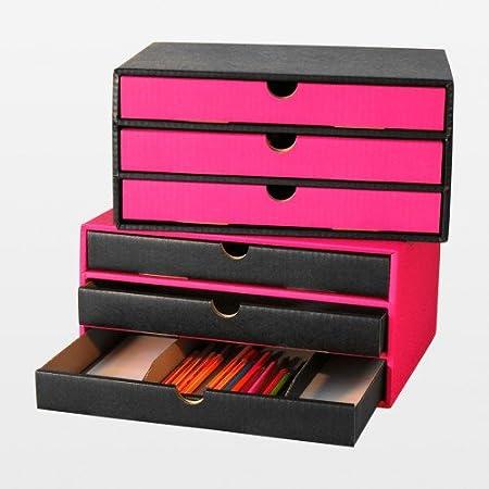 3 pieza cajones Cajas Con 3 Cajones de cartón DIN A4 rosa de color negro: Amazon.es: Hogar