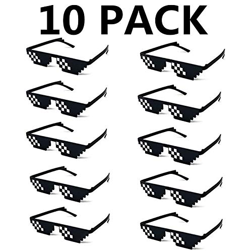 10 Pack Thug Life Party Sunglasses 8 Bit Pixelated Mosaic Gamer MLG Photo Props Glasses for Adults Teens ()