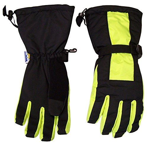 N'Ice Caps Kids Extreme Cold Weather Premier Extended Cuff Snowboard Glove (13-15yrs, Neon Yellow/Black) (Cuff Snow)